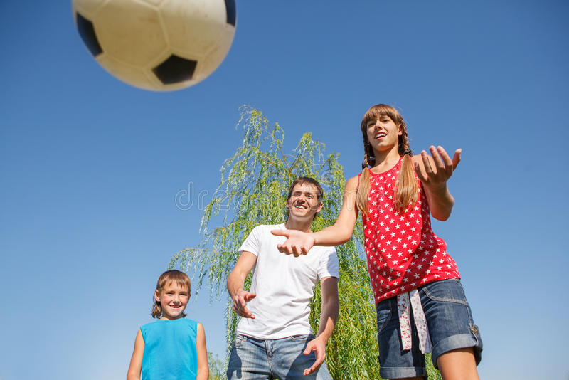 Catching a ball stock image