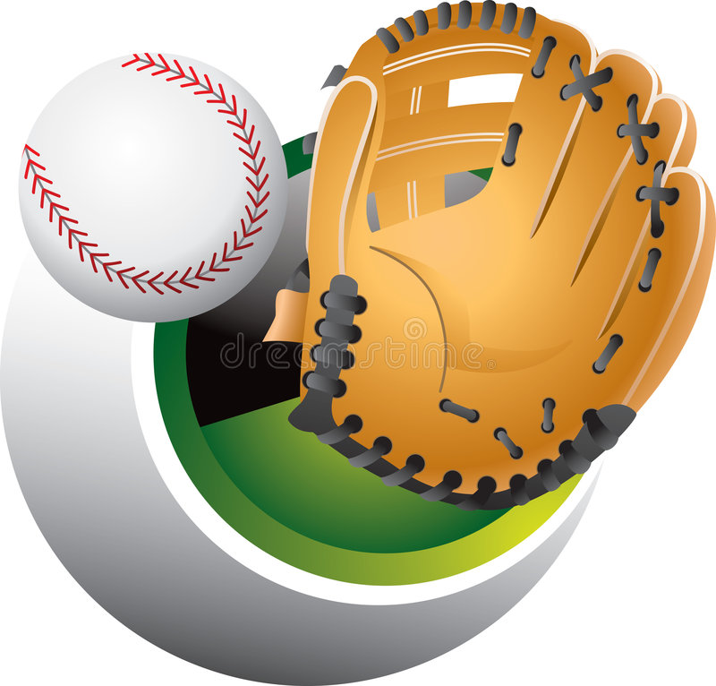 Catching a baseball. An illustration of a hand with a baseball mitt, emerging from a sphere to catch a baseball. EPS file is available royalty free illustration