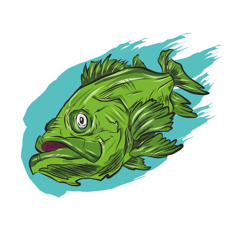 Catching Bass Fish.. Fish Color. Vector Fish. Graphic Fish. Fish On A White Background. royalty free illustration