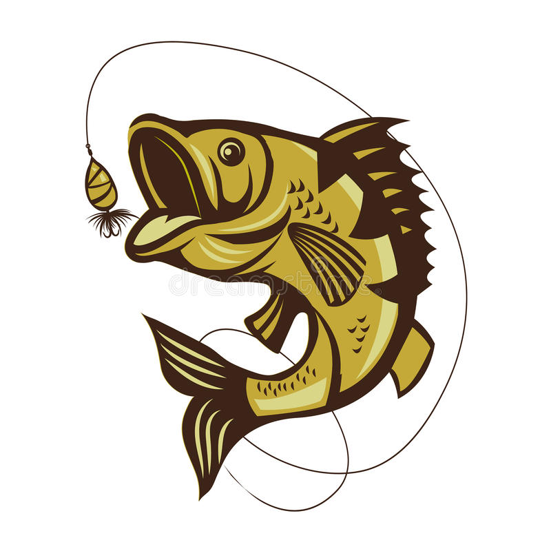 Catching Bass fish. Fish color. Vector fish. Graphic fish. stock illustration