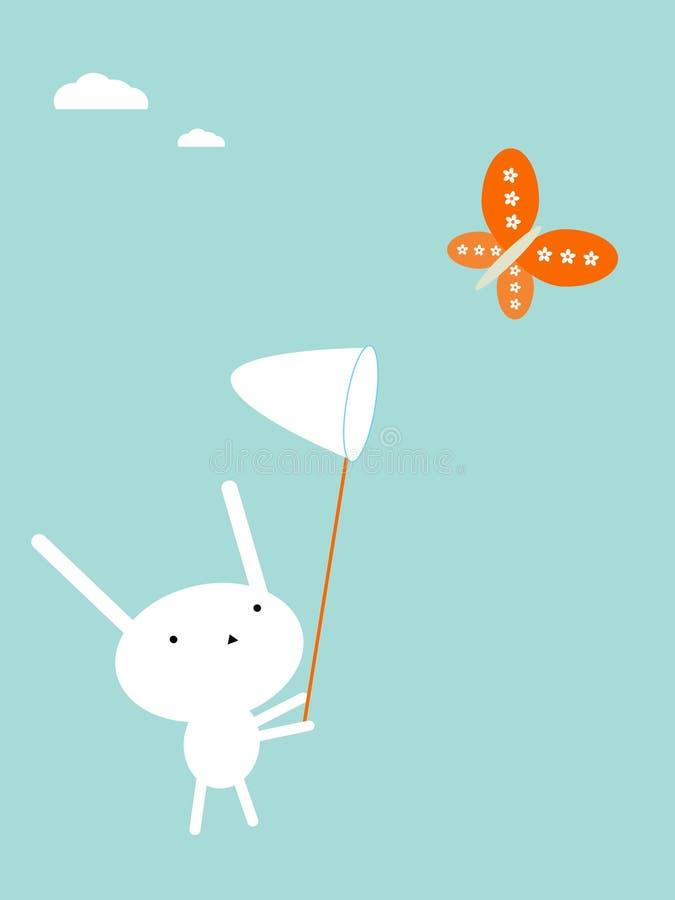 Catching butterflies. Cute bunny catching butterflies. Vector illustration