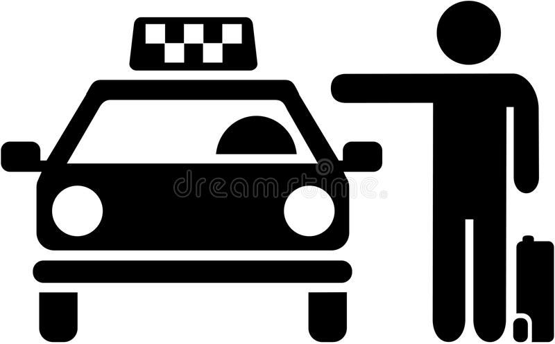 Catching a cab. Taxi pictogram. Vector stock illustration