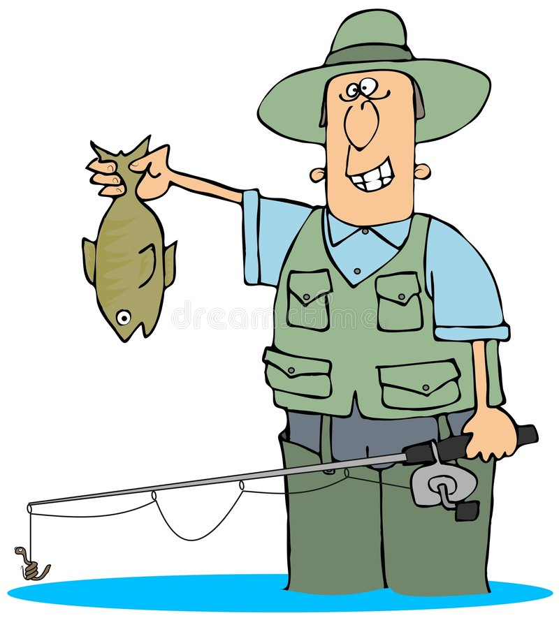 Catching A Fish vector illustration