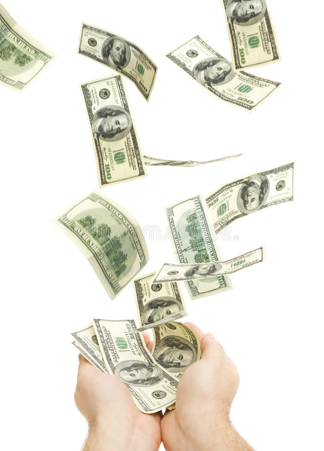 Catching hundreds of dollars. Isolated against white background royalty free stock photos