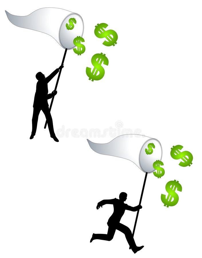 Catching Money With A Net. An illustration featuring your choice of 2 characters trying to catch money dollar signs with a big net royalty free illustration