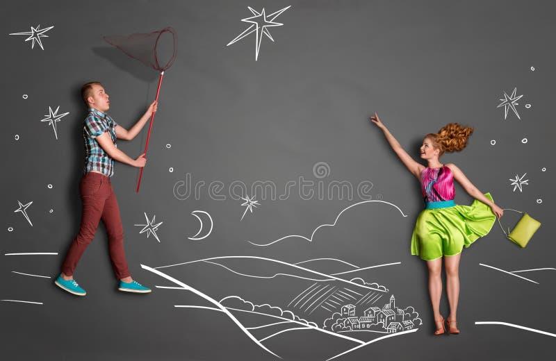 Catching stars. stock illustration