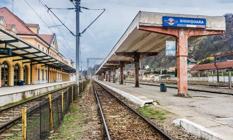 Transylvanie Train Station, Romania - Eastern Europe. Catching Train to Brasov in Sighisoara, Romania stock photo