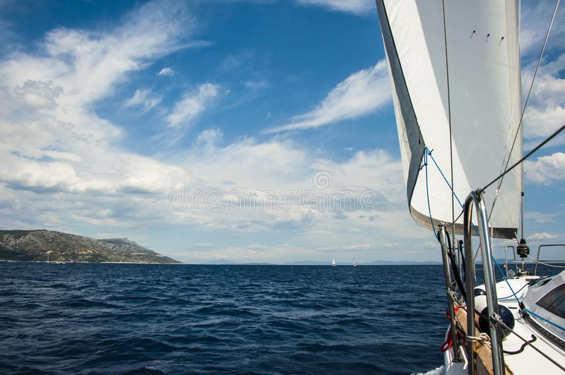 Catching wind while sailing in Croatia. royalty free stock photo