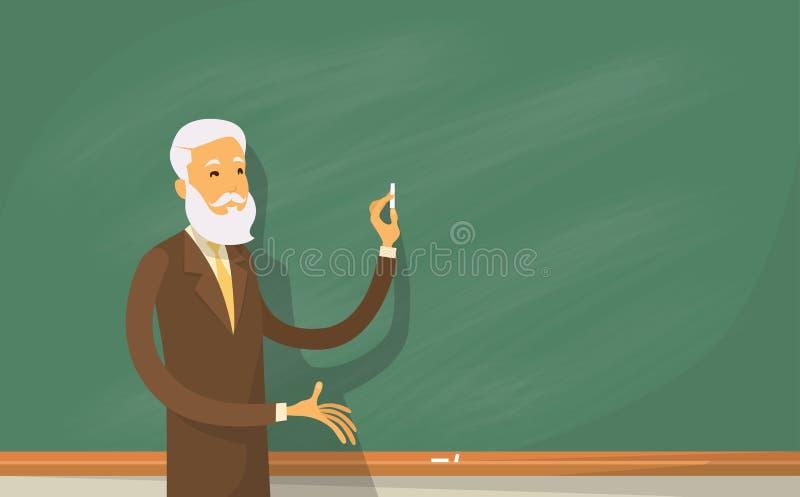 Catedrático Lecture College Teacher na sala de aula, suporte sobre a placa verde que guarda o giz ilustração royalty free