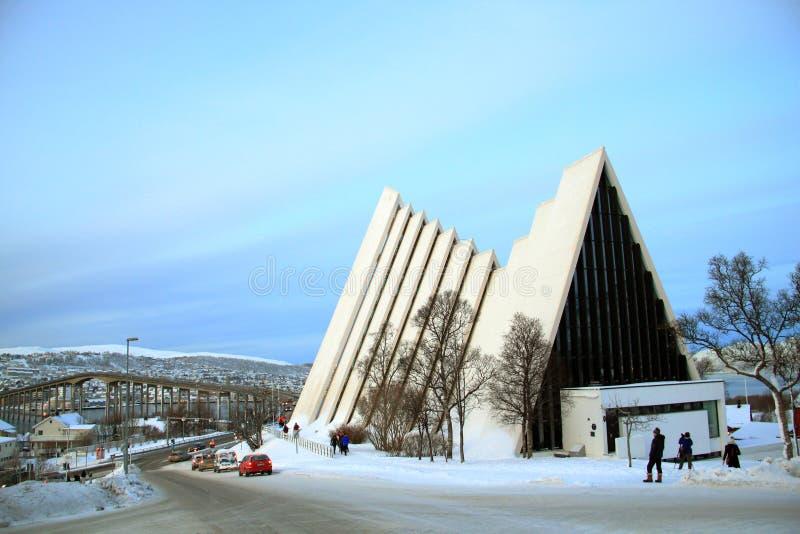 Catedral ártica en Tromso foto de archivo