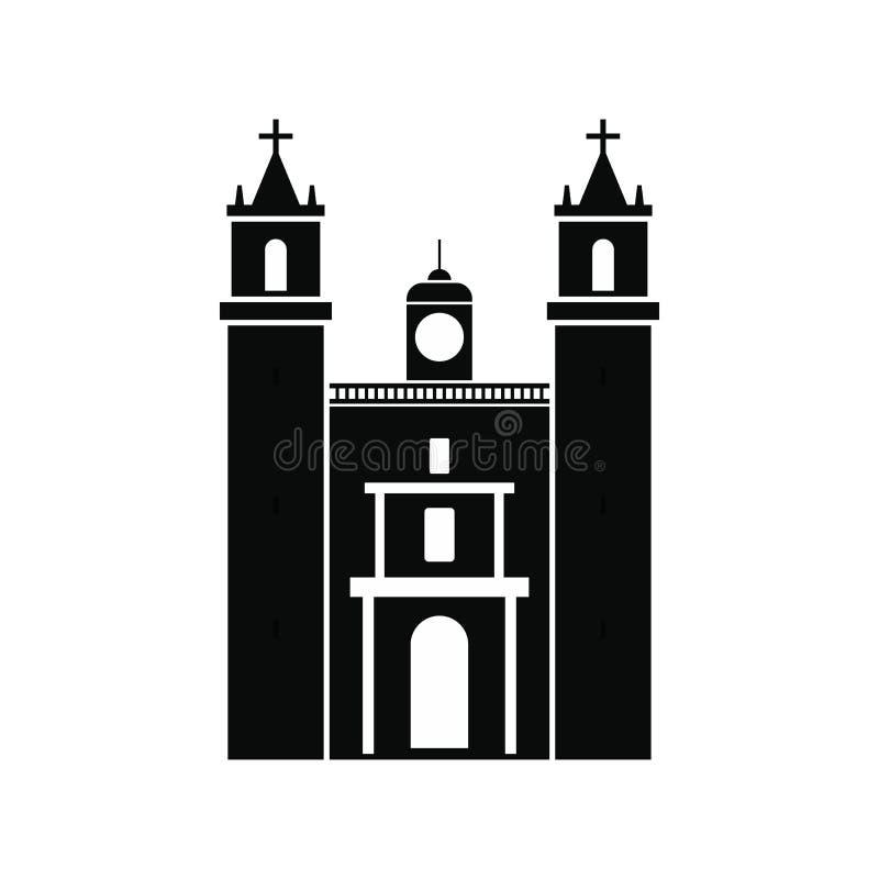 Catedral ícone em Valladolid, México, estilo simples ilustração do vetor