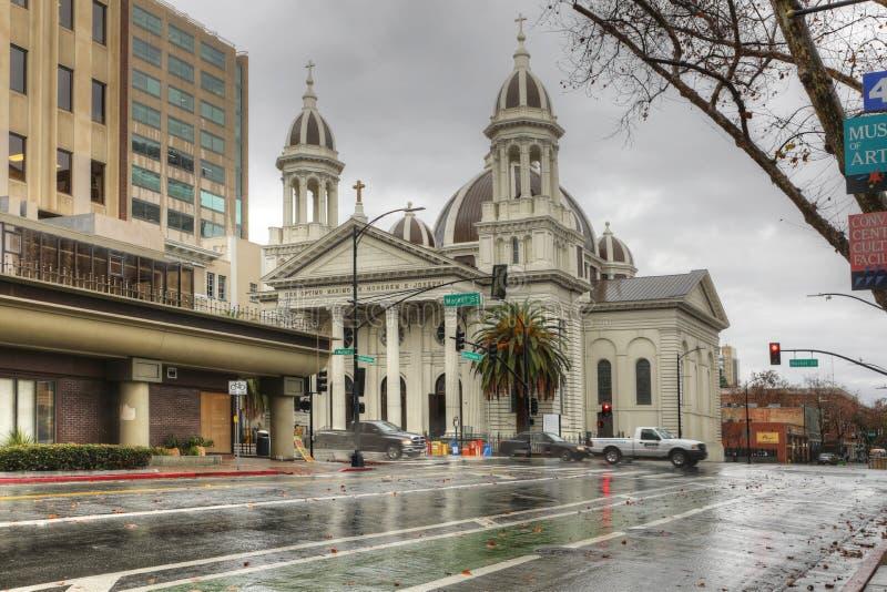 Catedral Basílica de São José em San José, Califórnia, Estados Unidos imagens de stock royalty free