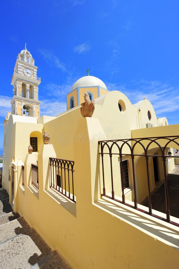 A catedral católica de Fira, Santorini, Greec fotos de stock