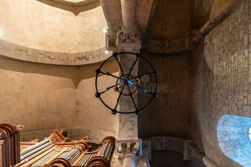 Catedral da cidade medieval Fortified de Carcassonne em França fotos de stock