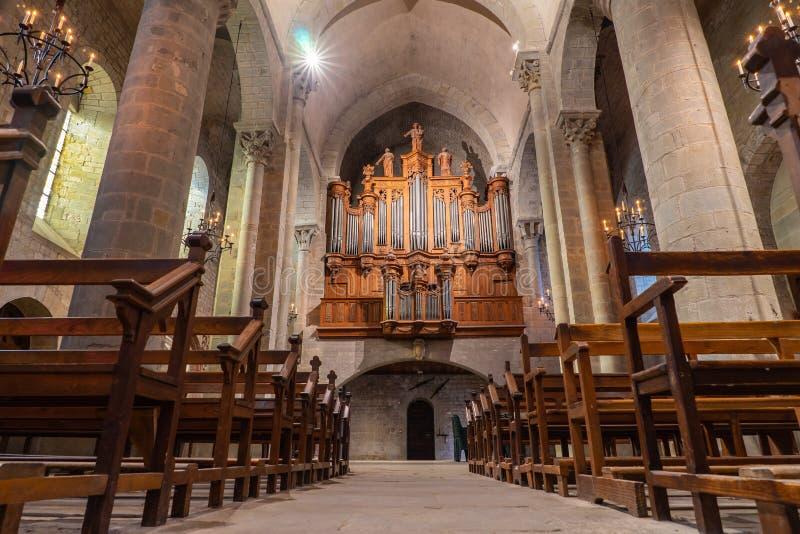 Catedral da cidade medieval Fortified de Carcassonne em França foto de stock royalty free