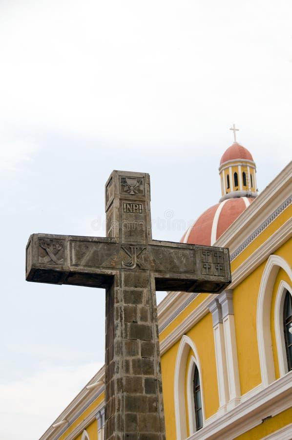 catedral da cruz do catholic de grenada Nicarágua foto de stock royalty free