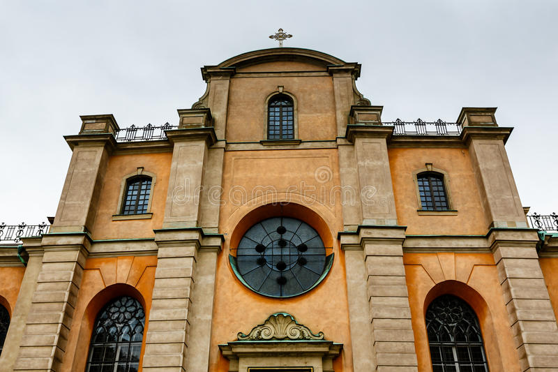 Catedral da fachada da São Nicolau (Storkyrkan), Éstocolmo imagem de stock