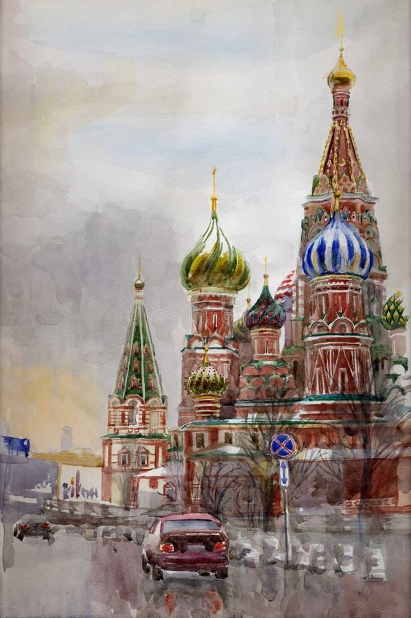 Catedral da manjericão de Saint ilustração royalty free