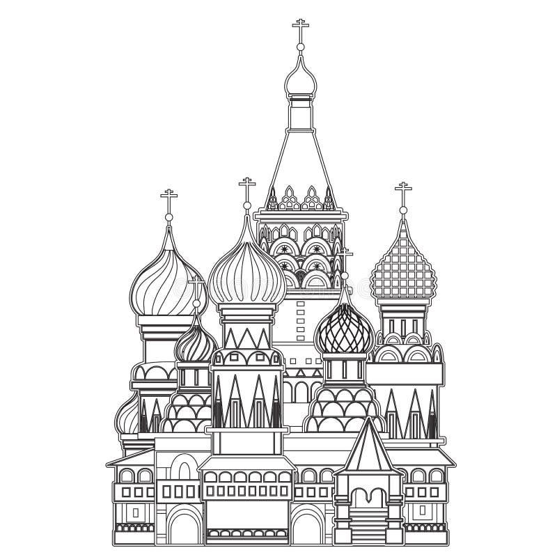 Catedral da manjericão de Saint, Moscou, vetor ilustração royalty free