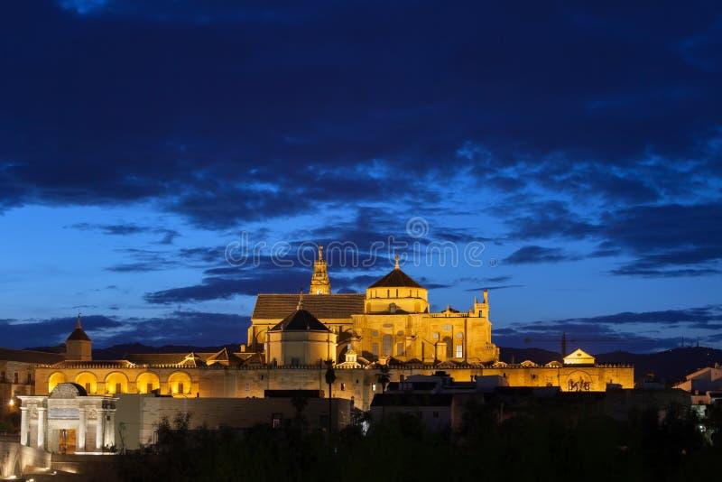 Catedral da mesquita de Córdova na noite fotos de stock