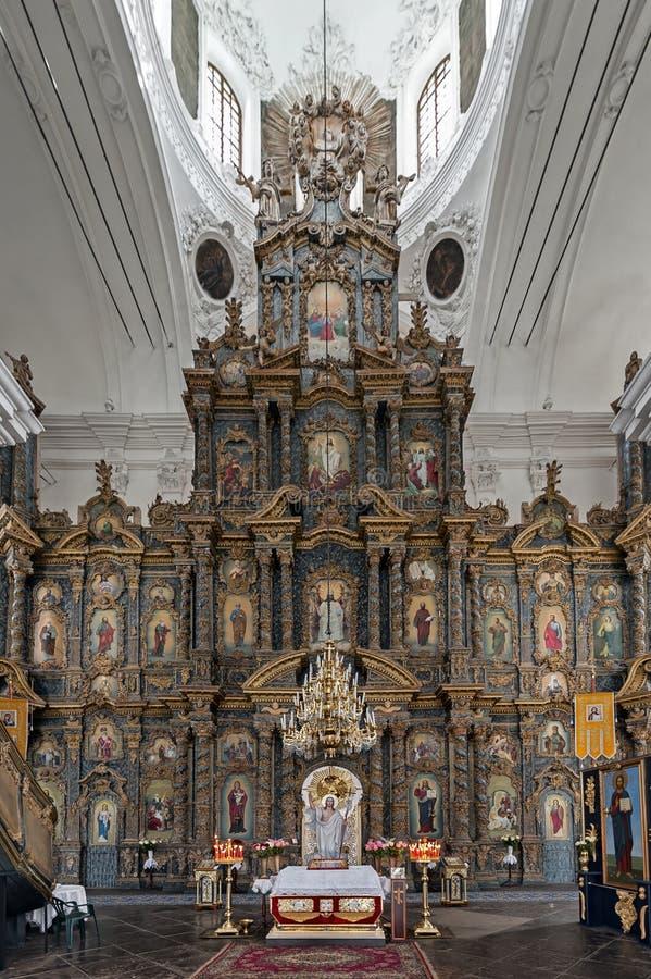 A catedral da natividade do Virgin Blessed mão-crafted o iconostasis do Linden em Kozelets, Ucrânia imagens de stock
