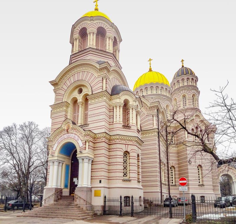 Catedral da natividade em Riga foto de stock royalty free