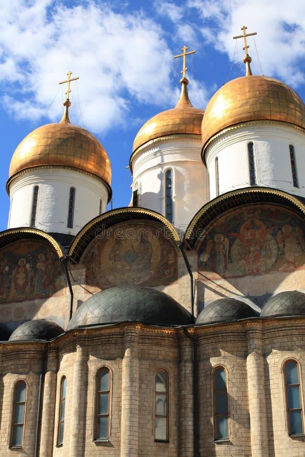 Catedral da suposição, Moscovo Kremlin. Rússia imagens de stock royalty free