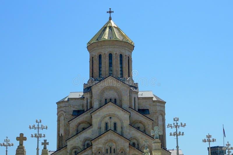 Catedral da trindade santamente da catedral de Tbilisi Tsminda Sameba A catedral principal da igreja ortodoxa Georgian ge?rgia imagem de stock