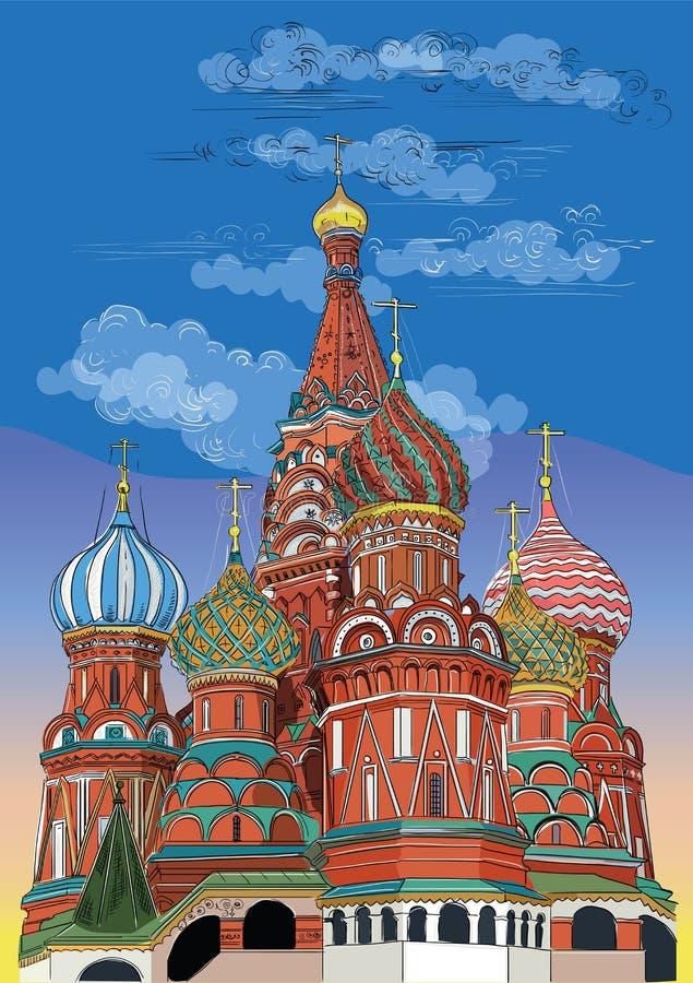 Catedral das manjericões de Saint do Kremlin Moscou, Rússia Ilustração colorida do desenho da mão do vetor ilustração royalty free