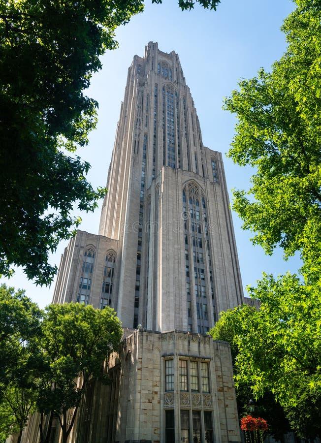 Catedral de aprender el edificio en la universidad de Pittsburgh imagen de archivo libre de regalías
