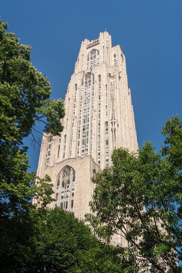 Catedral de aprender el edificio en la universidad de Pittsburgh fotografía de archivo libre de regalías
