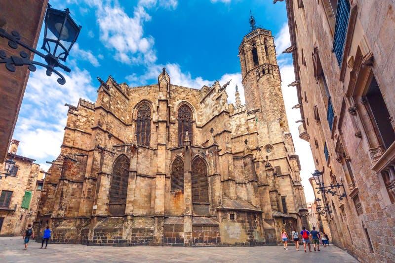 Catedral de Barcelona como calle vista de Freneria, España fotos de archivo libres de regalías