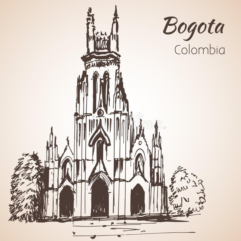 Catedral de Bogotá esboço ilustração do vetor