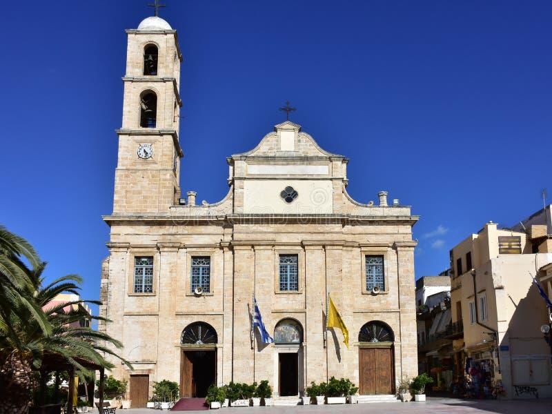 Catedral de Chania dedicada a Panagia Trimartyri fotografia de stock
