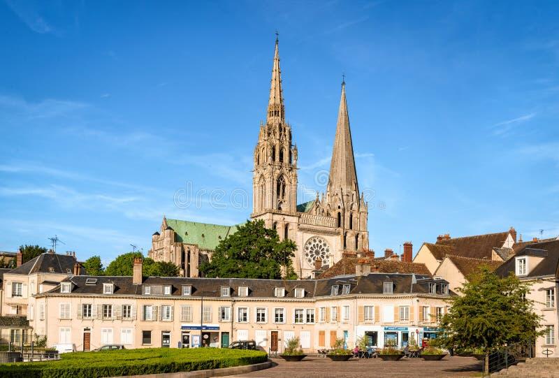 Catedral de Chartres em um dia ensolarado imagem de stock royalty free