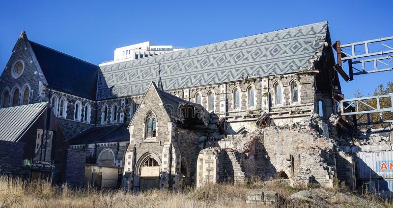 Catedral de Christchurch demulida pelo terremoto imagens de stock royalty free