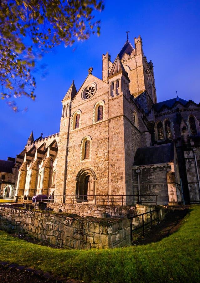 Catedral de Christchurch en la noche imagen de archivo