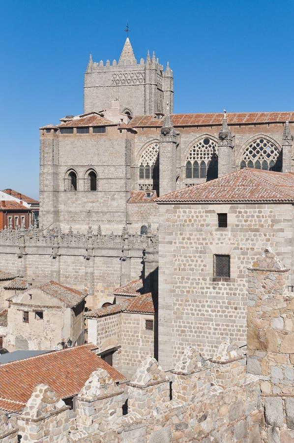 Catedral de Del Salvador en Ávila, España fotografía de archivo