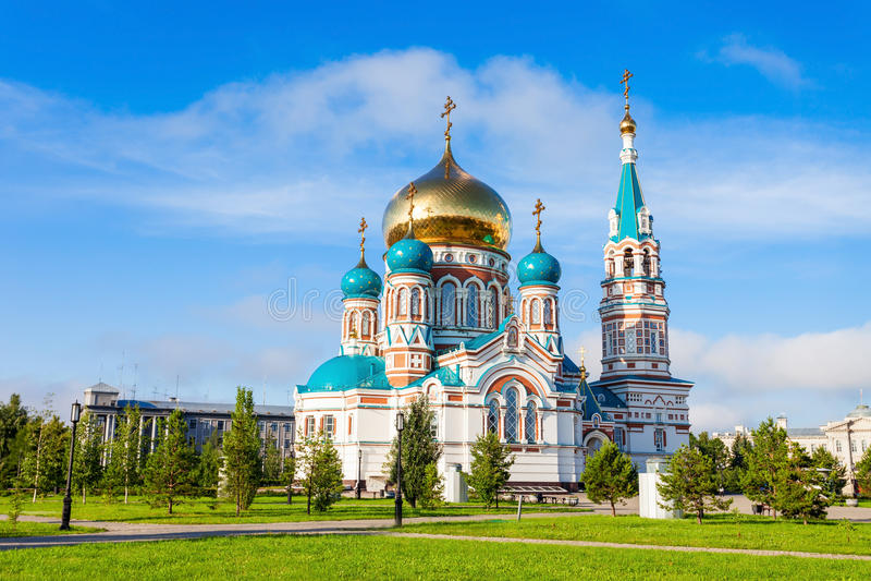 A catedral de Dormition, Omsk imagens de stock royalty free
