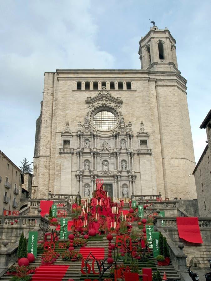 Catedral de Girona imágenes de archivo libres de regalías