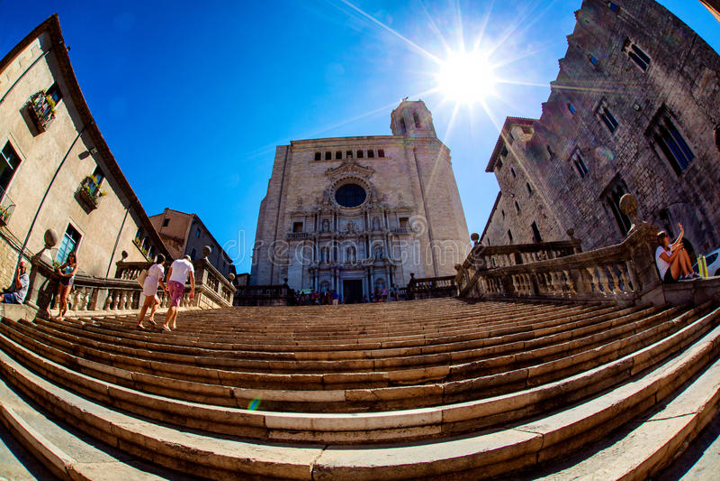 Catedral de Girona imagen de archivo libre de regalías