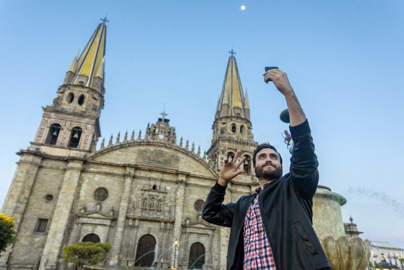 Catedral de Guadalajara da cidade Selfie fotografia de stock