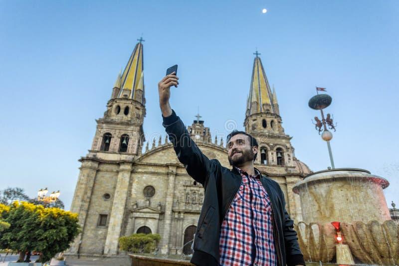 Catedral de Guadalajara da cidade Selfie fotos de stock royalty free