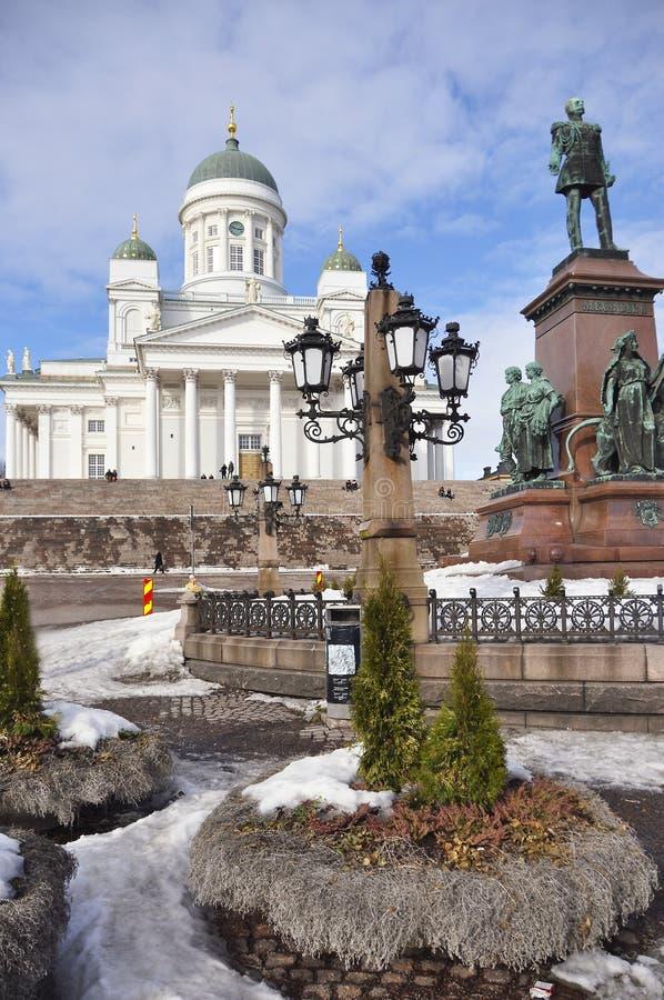 Catedral de Helsinki en el cuadrado del senado, Finlandia fotografía de archivo libre de regalías