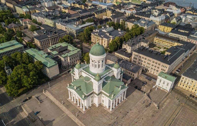 Catedral de Helsinki y cuadrado del senado foto de archivo libre de regalías