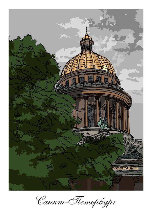 A catedral de Isaac de Saint, St Peterburg, Rússia ilustração do vetor