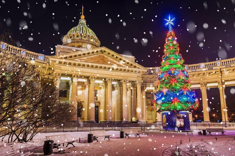 Catedral de Kazán con la picea de la Navidad, St Petersburg imágenes de archivo libres de regalías