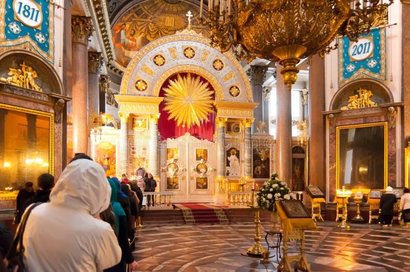 Catedral de Kazan no iconostasis de St Petersburg fotografia de stock royalty free