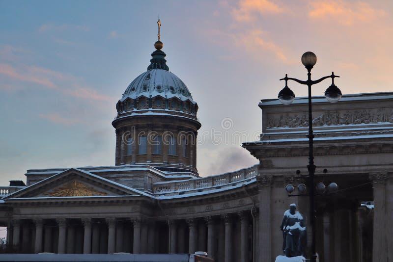 Catedral de Kazan, quadrado de Kazan imagens de stock