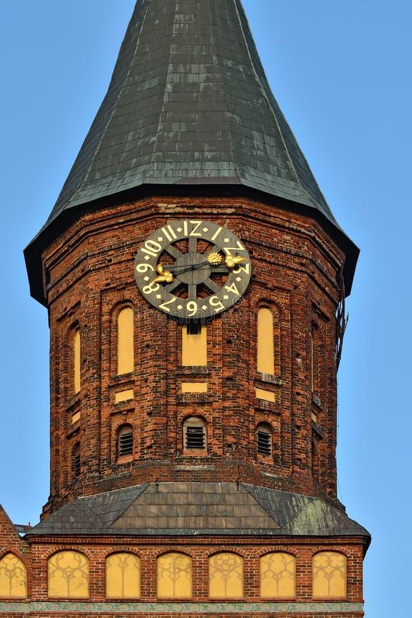 Catedral de Konigsberg de la torre en la puesta del sol Kaliningrado, Rusia fotografía de archivo libre de regalías